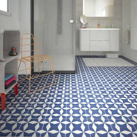 carrelage sol et mur bleu blanc effet ciment d ment x cm leroy merlin. Black Bedroom Furniture Sets. Home Design Ideas
