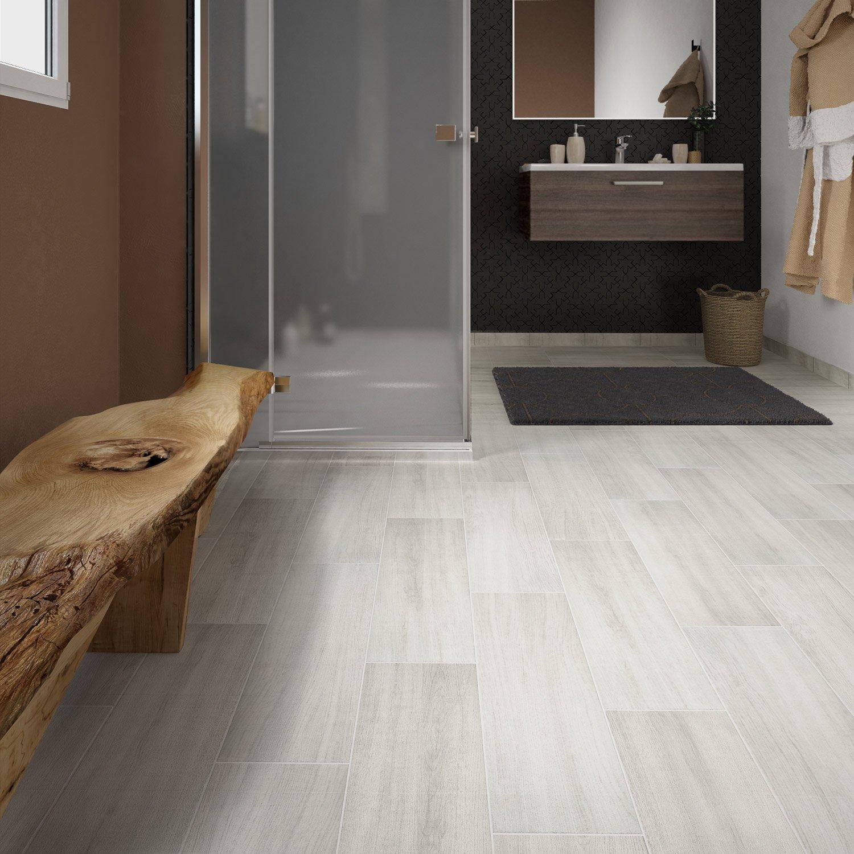 carrelage sol et mur blanc effet bois helsinka l20 x l60 cm