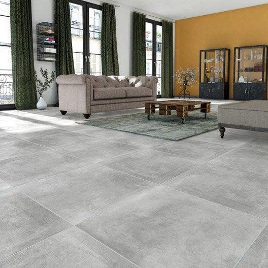 Carrelage sol et mur gris effet b ton new cottage x for Carrelage 80x80 gris anthracite