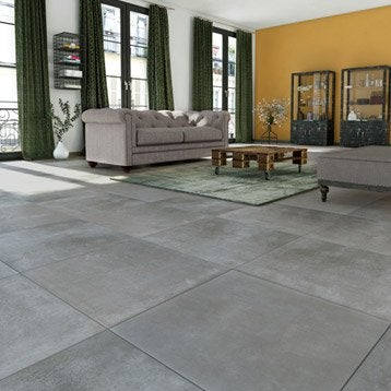Carrelage sol et mur gris foncé effet béton New cottage l.60.4 x L.60.4 cm