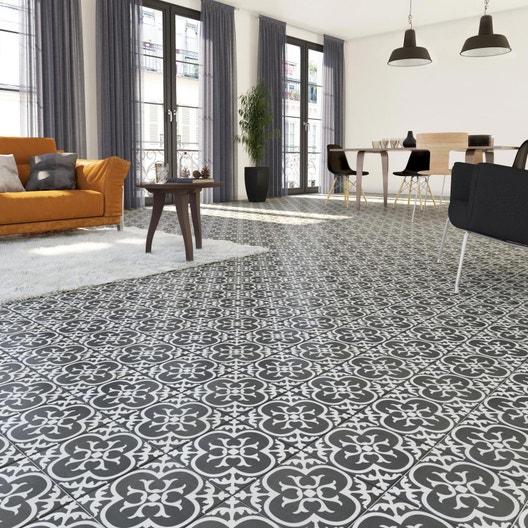 carrelage sol et mur noir et blanc effet ciment gatsby floral x cm leroy merlin. Black Bedroom Furniture Sets. Home Design Ideas