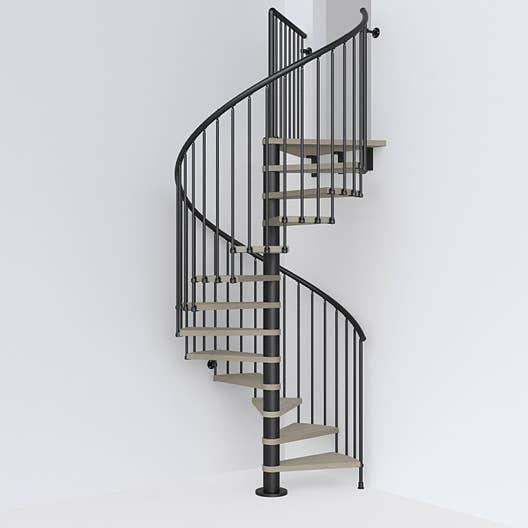 Escalier colimaçon rond Ring structure acier marche bois   Leroy Merlin