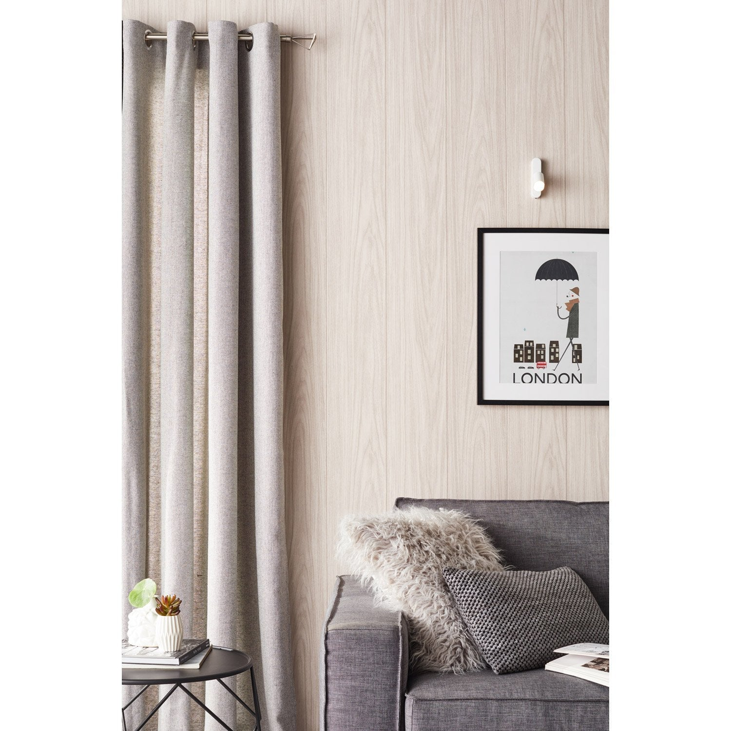 Tringle rideau design nickel mat 200 cm inspire leroy merlin - Barre rideau porte ...