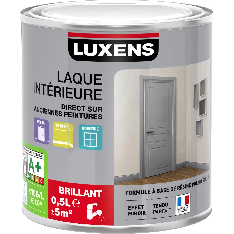 Peinture blanc blanc 0 brillant luxens laque brillante 0 5 l leroy merlin - Peinture laque brillante ...