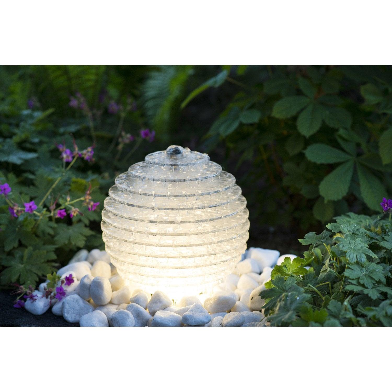 Fontaine de jardin en polypropylène transparent/inox Galia   Leroy ...