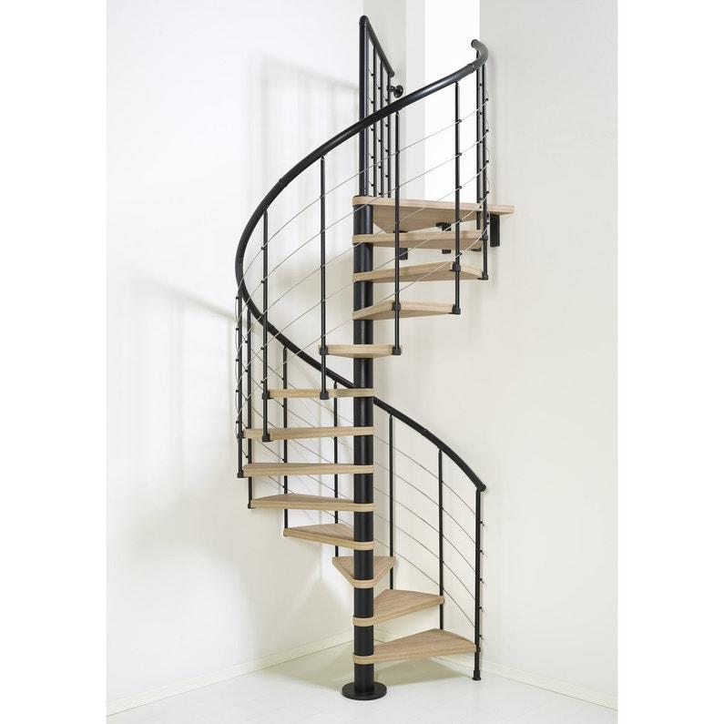 Escalier colimaçon rond révers. acier noir Ring tube 12 mar. orme clair,  ⌀118 cm