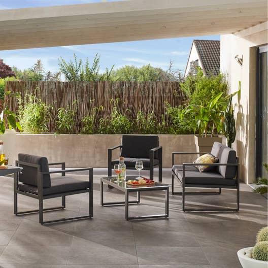 salon bas de jardin lisboa aluminium gris 4 personnes leroy merlin. Black Bedroom Furniture Sets. Home Design Ideas