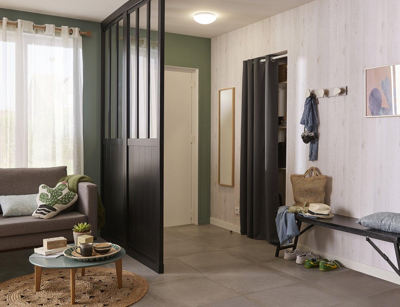 un salon avec une cloison en tasseaux leroy merlin. Black Bedroom Furniture Sets. Home Design Ideas