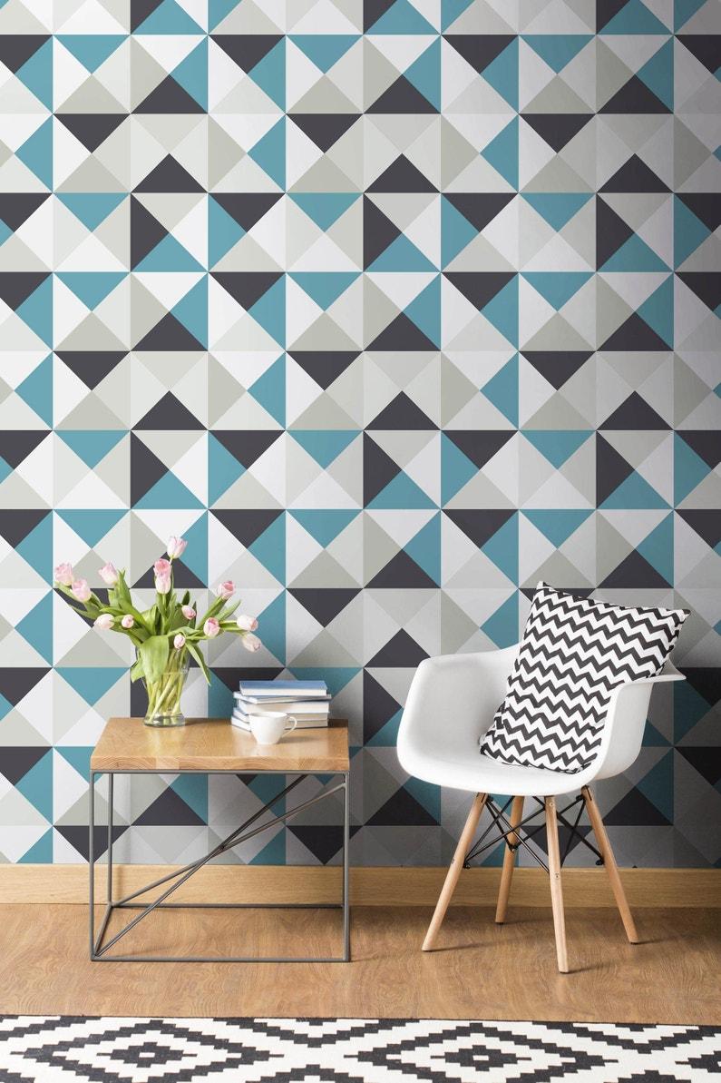 Leroy Merlin Papier Peint Salle De Bain papier peint intissé polygone bleu / noir