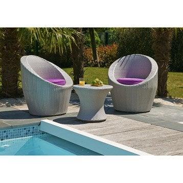 Salon bas de jardin canap fauteuil bas salon de - Salon de jardin tresse leroy merlin ...