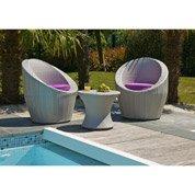 Salon jardin Totem mediterranée résine tressée gris 2 fauteuils, 1 table basse
