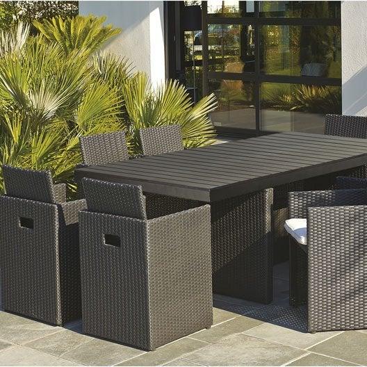 salon de jardin encastrable résine tressée noir 1 table + 8