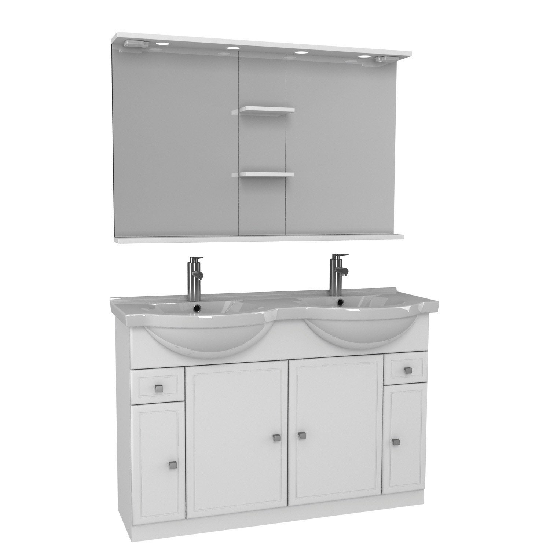 Meuble double vasque l.120 x H.80 x P.35 cm, blanc, Galice