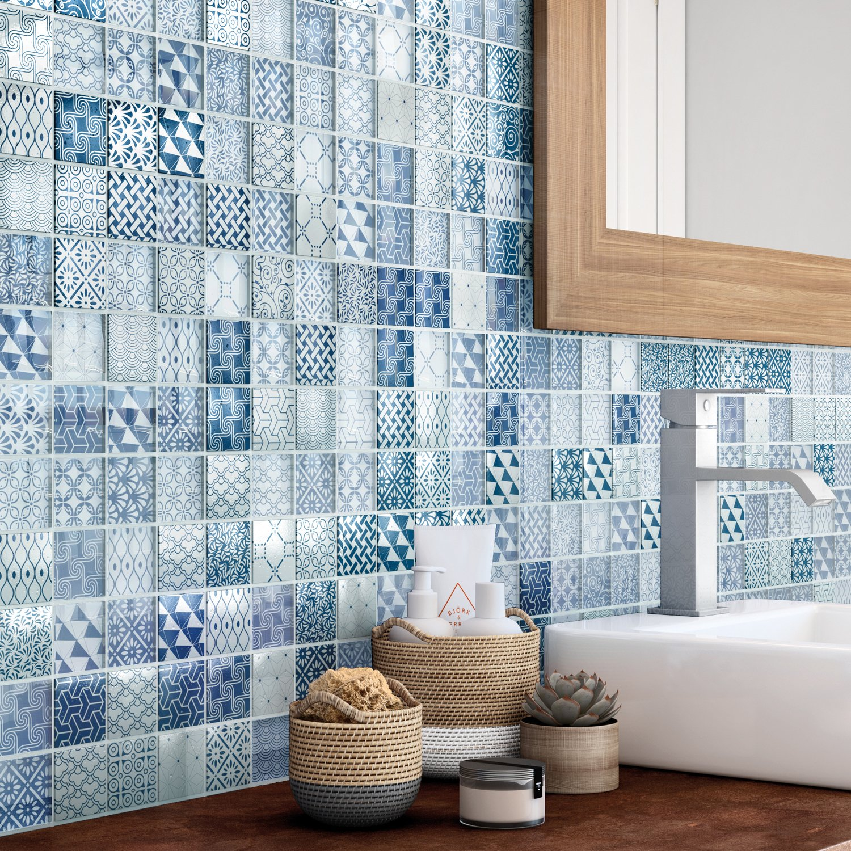 Le bleu de la mosaïque mini carreaux de ciment  Leroy Merlin