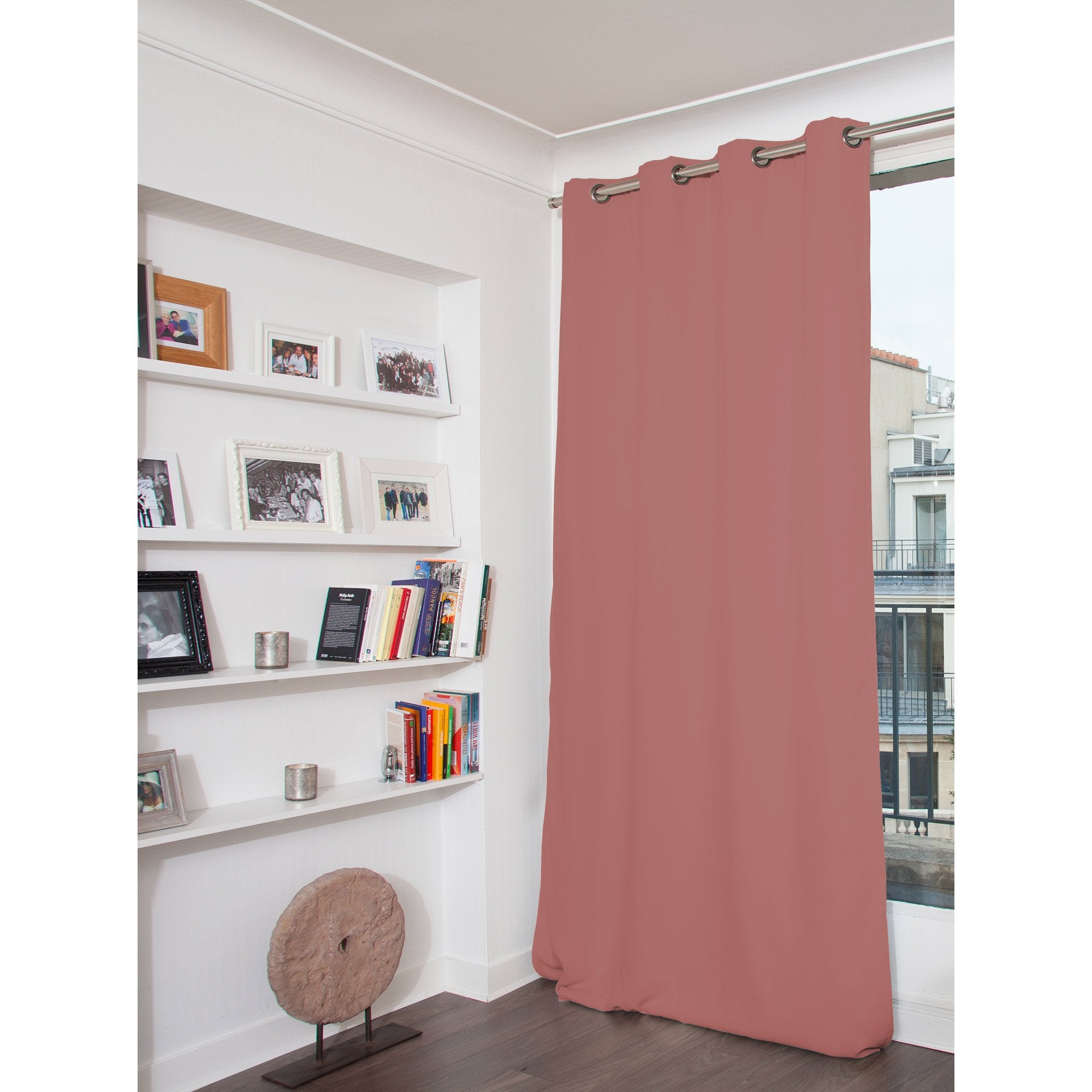 Rideau occultant, velours, Venise vieux rose l.135 x H.260 cm MOONDREAM