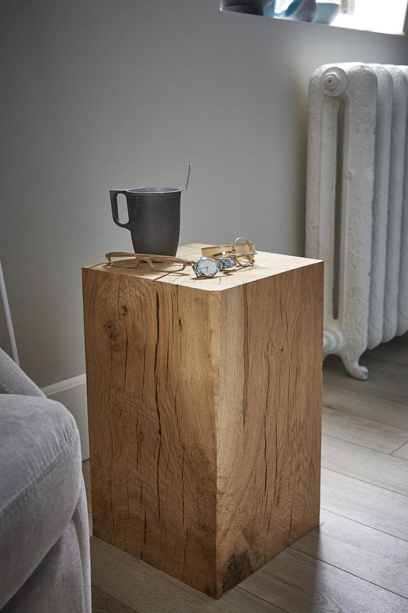 Morceau De Bois Brut cube chêne massif l24 x l24 x h45cm