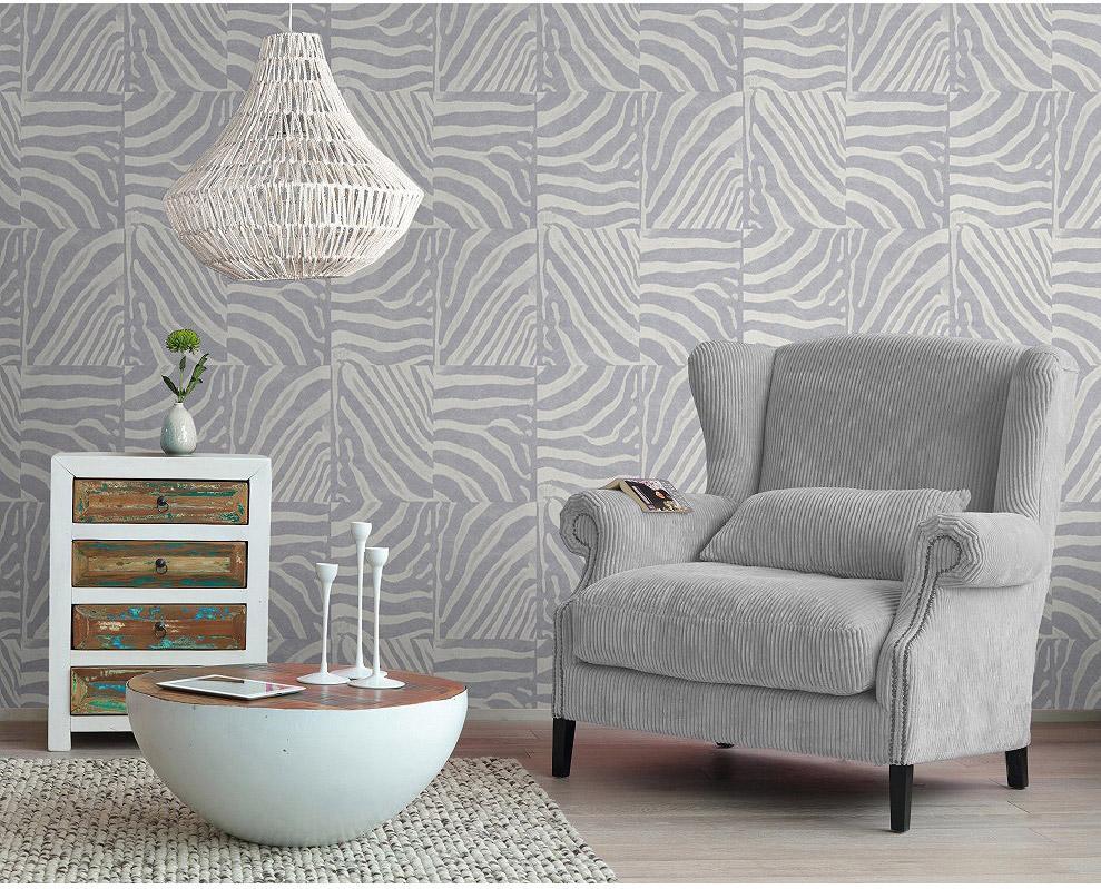 Papier peint intissé Peau de zèbre gris