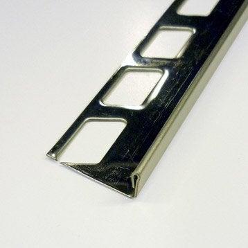 Equerre de finition carrelage sol, inox L.2.5 m x Ep.10 mm