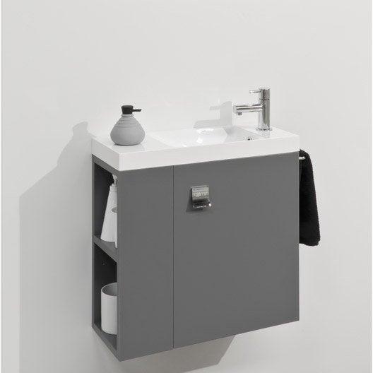 Meuble lave mains avec miroir gris gris n 1 slim leroy merlin - Toilette avec lave main integre castorama ...