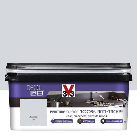 Peinture Décolab 100% Antitache V33, Gris manganèse, 2 l | Leroy Merlin