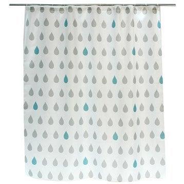 Rideau de douche en textile gris galet n°3 l.180 x H.200 cm, Drop SENSEA