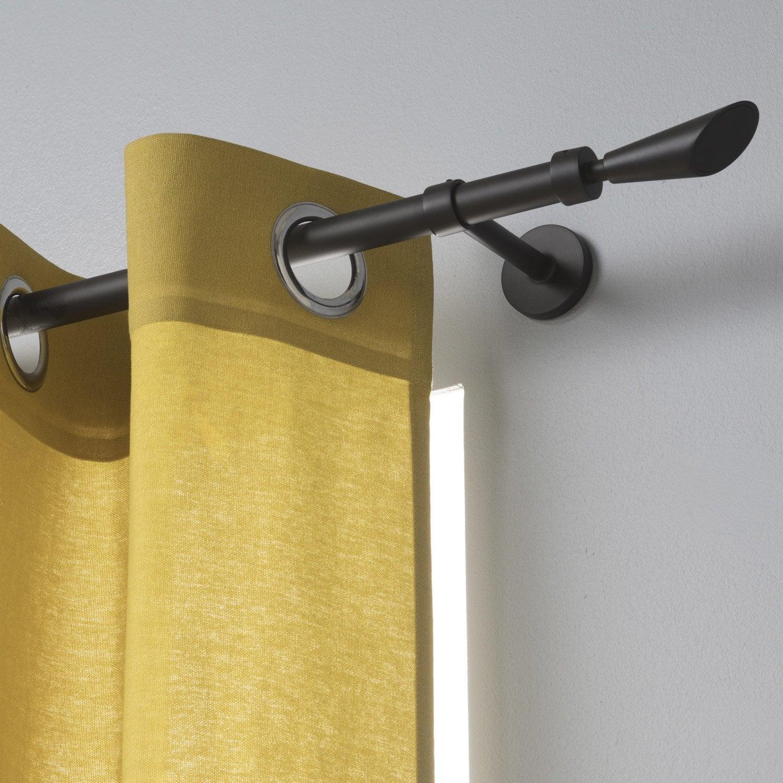 Tringle à rideau noir mat de 120 à 210 cm INSPIRE