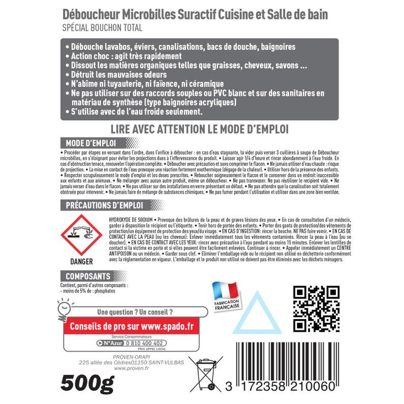 Déboucheur Microbille Eau Froide Spado 500 G
