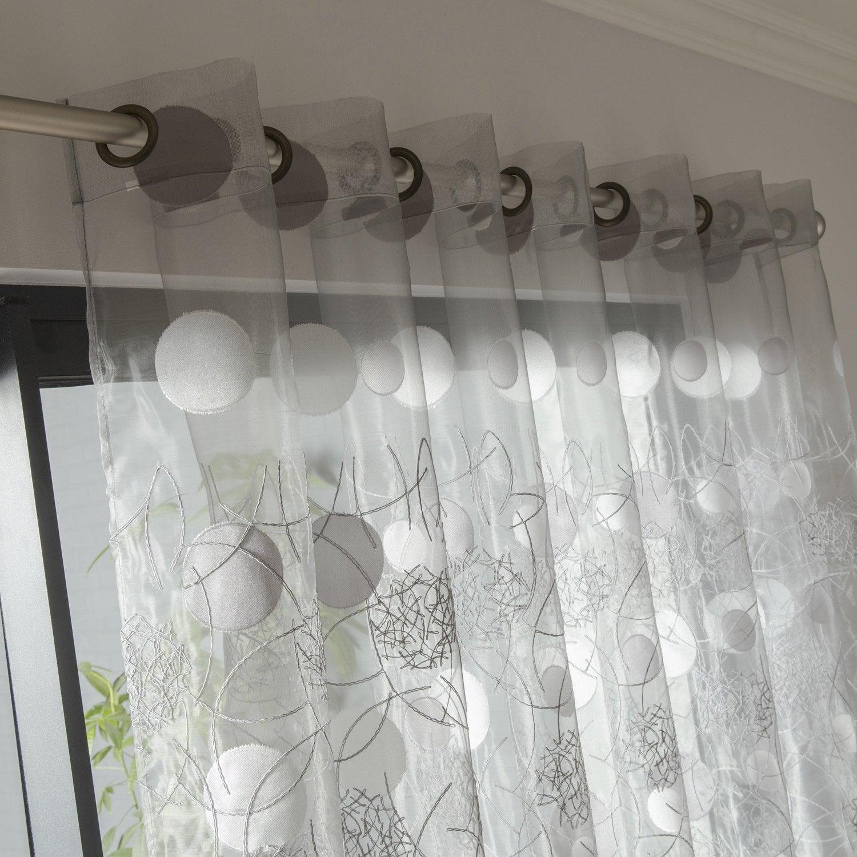 voilage tamisant grande largeur luna gris x cm leroy merlin. Black Bedroom Furniture Sets. Home Design Ideas