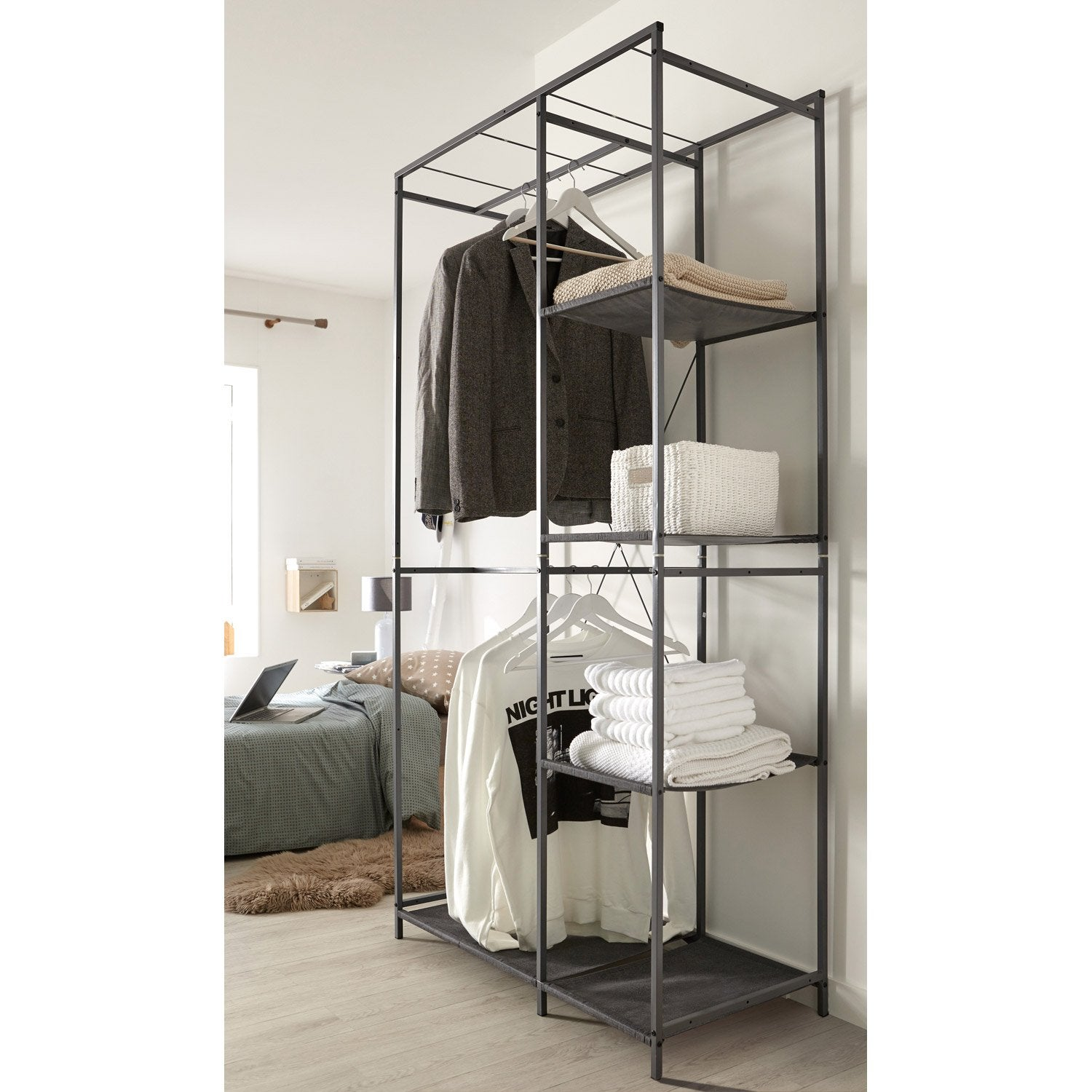 penderie 4 tag res gris acier et intiss spaceo x x cm leroy merlin. Black Bedroom Furniture Sets. Home Design Ideas