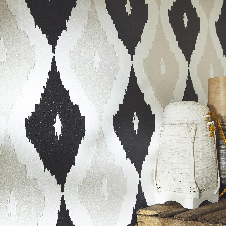 papier peint motifs beige noir et blanc pour une d co boh me leroy merlin. Black Bedroom Furniture Sets. Home Design Ideas
