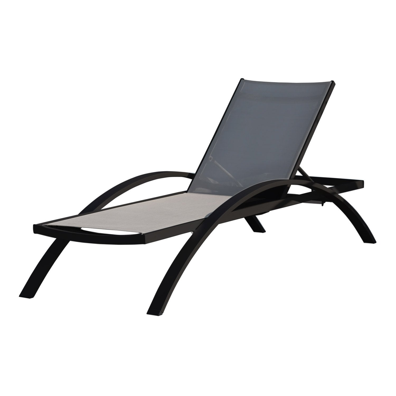 bain de soleil en aluminium barcelona noir leroy merlin. Black Bedroom Furniture Sets. Home Design Ideas