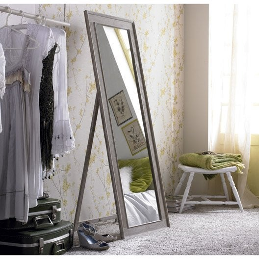 Miroir lanwood blanchi beige x cm leroy merlin for Miroir 140 cm