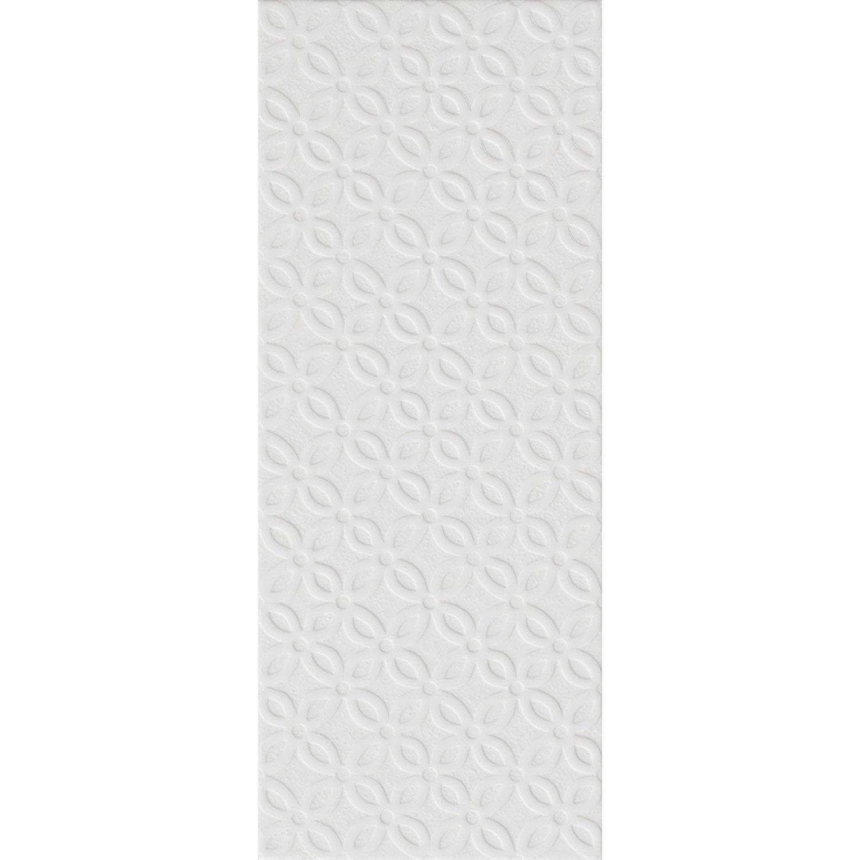 Décor mur blanc-blanc n°0 mat l.20 x L.50.2 cm, Loft pétale