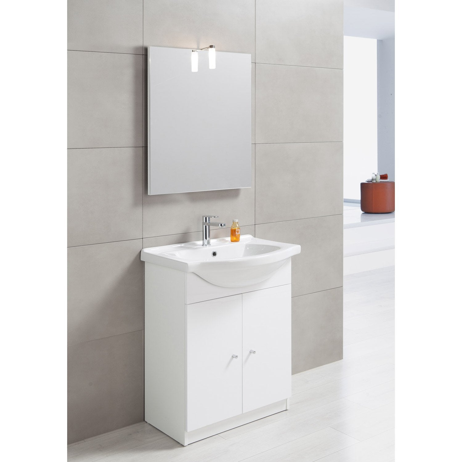 Meuble vasque 65 cm blanc bianca leroy merlin for Meuble plus vasque