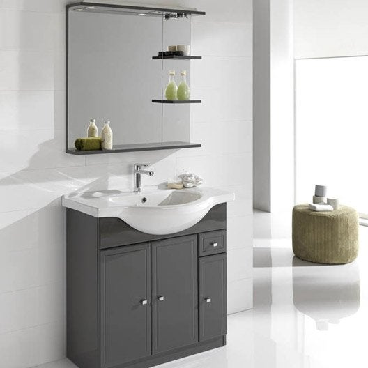 Meuble vasque x x cm gris galice leroy for Leroy merlin meuble vasque salle de bain