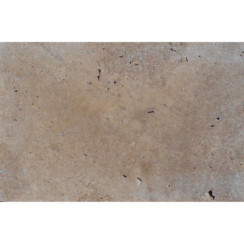 Margelle travertin en pierre naturelle beige/marron, L.120 x l.33 x Ep.3 cm