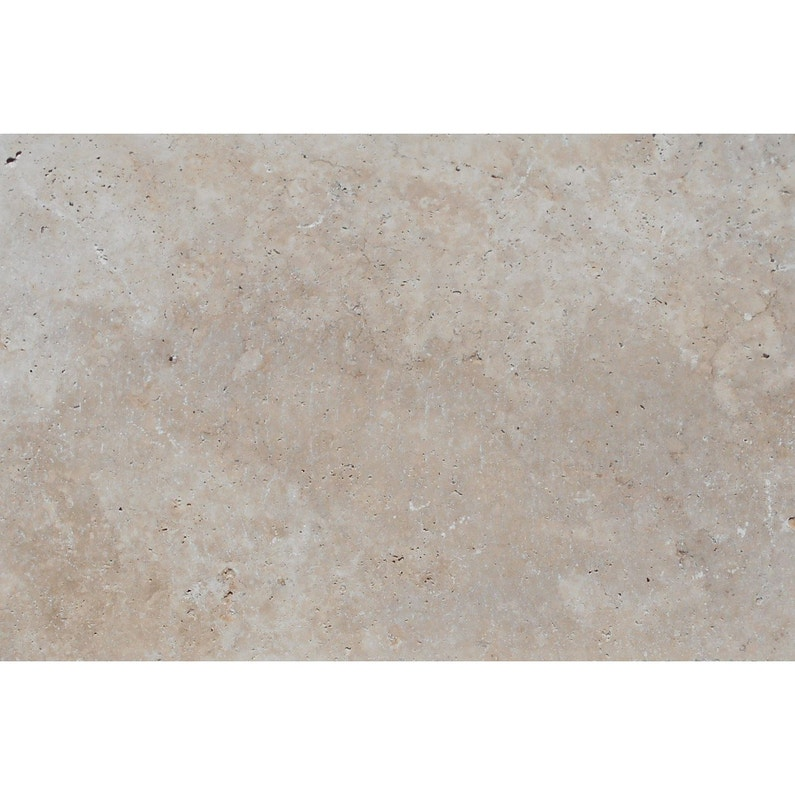 Dalle marbre Travertin classic, beige/marron, L.40.6 x l.61 cm x Ep ...