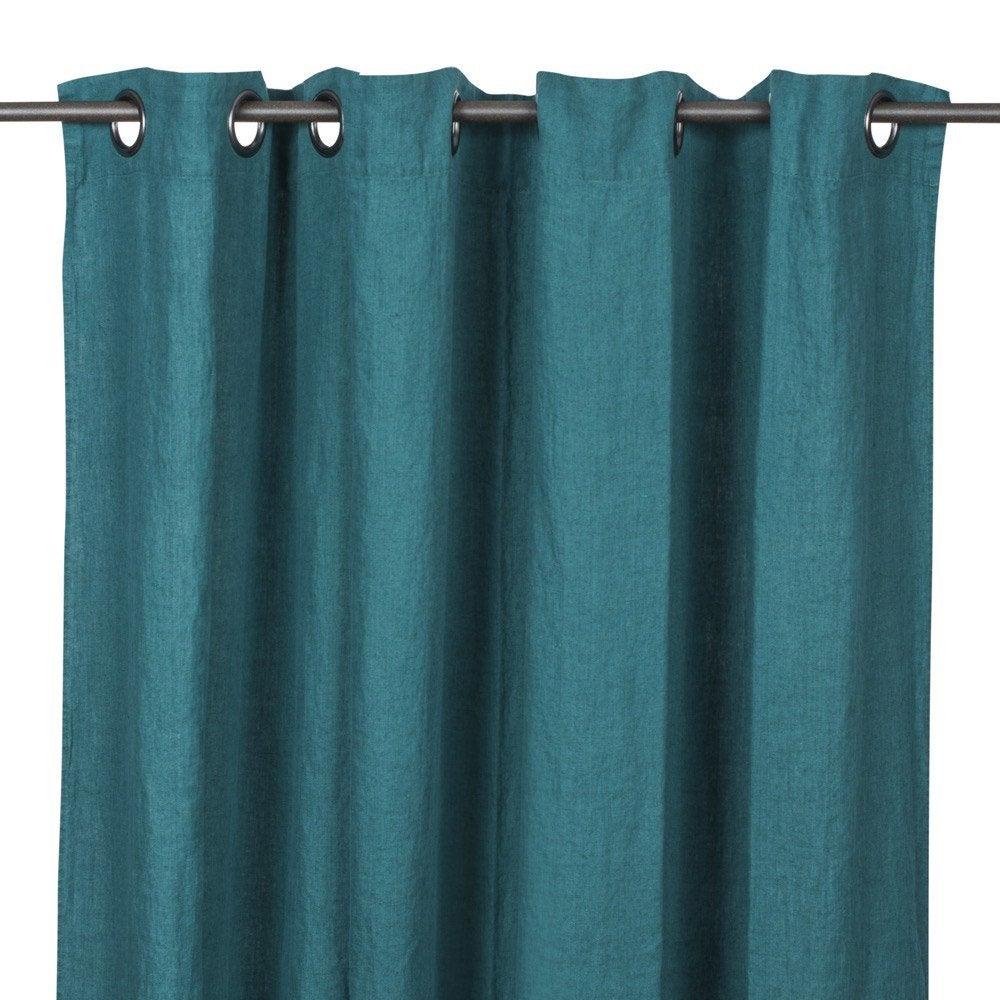Rideau tamisant, lin, Solenzara vert paon l.140 x H.280 cm