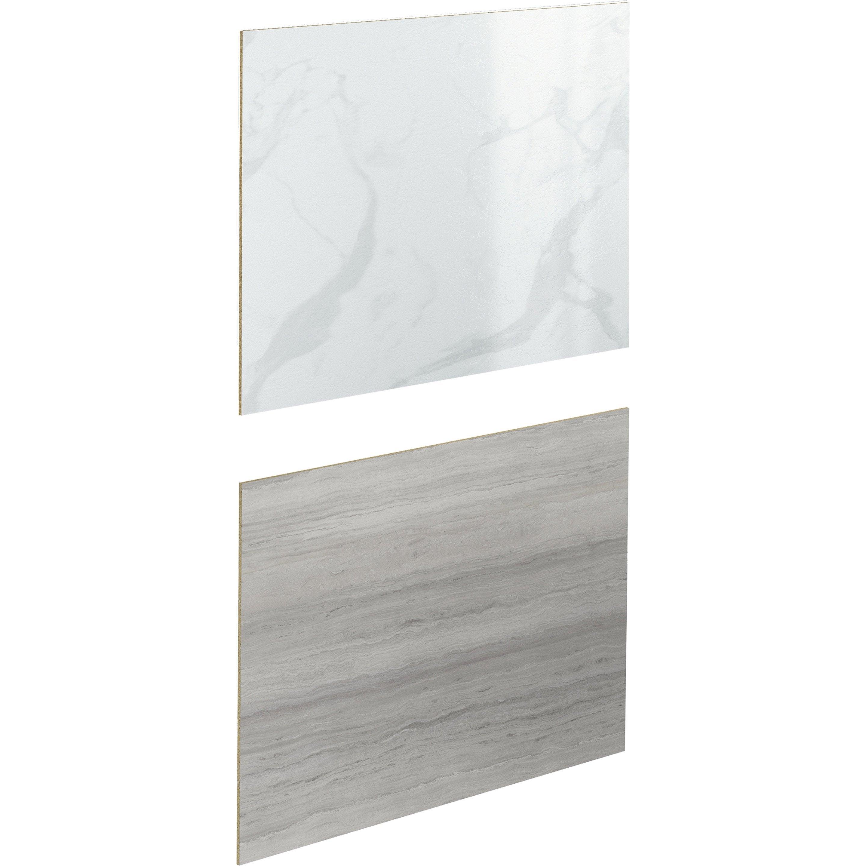 Crédence stratifié Effet marbre blanc/sable H.64 cm x Ep.9 mm x L.300 cm