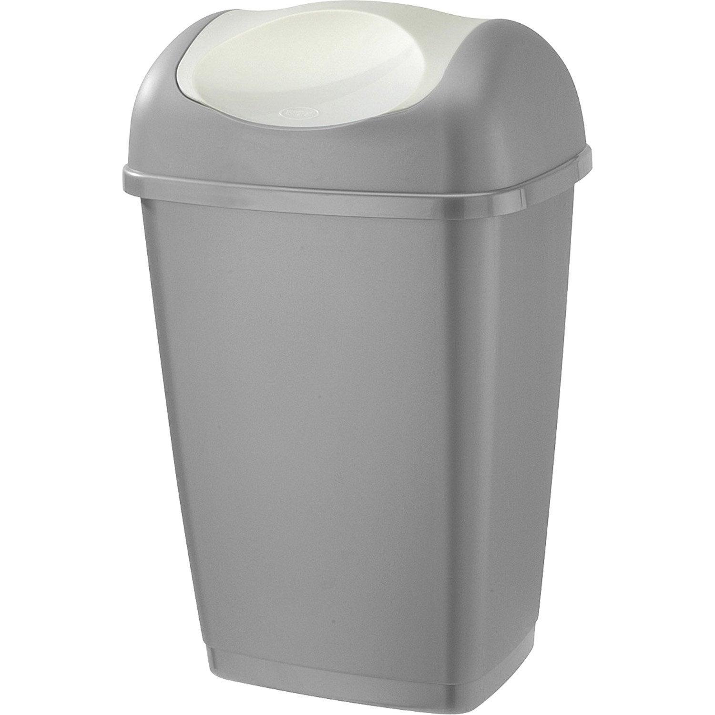 poubelle de cuisine manuelle plastique argent transparent 25 l leroy merlin. Black Bedroom Furniture Sets. Home Design Ideas
