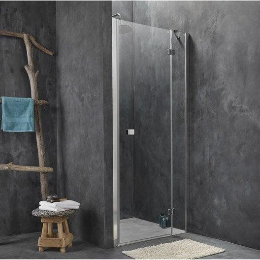 Porte de douche pivotante 90 cm transparent premium2 for Porte de douche pivotant 90