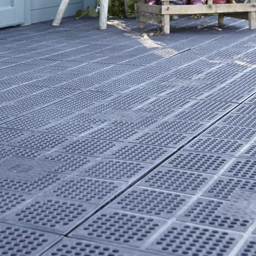 Dalle clipsable polypropyl ne xtiles marron x cm x mm ler - Dalle terrasse composite leroy merlin ...