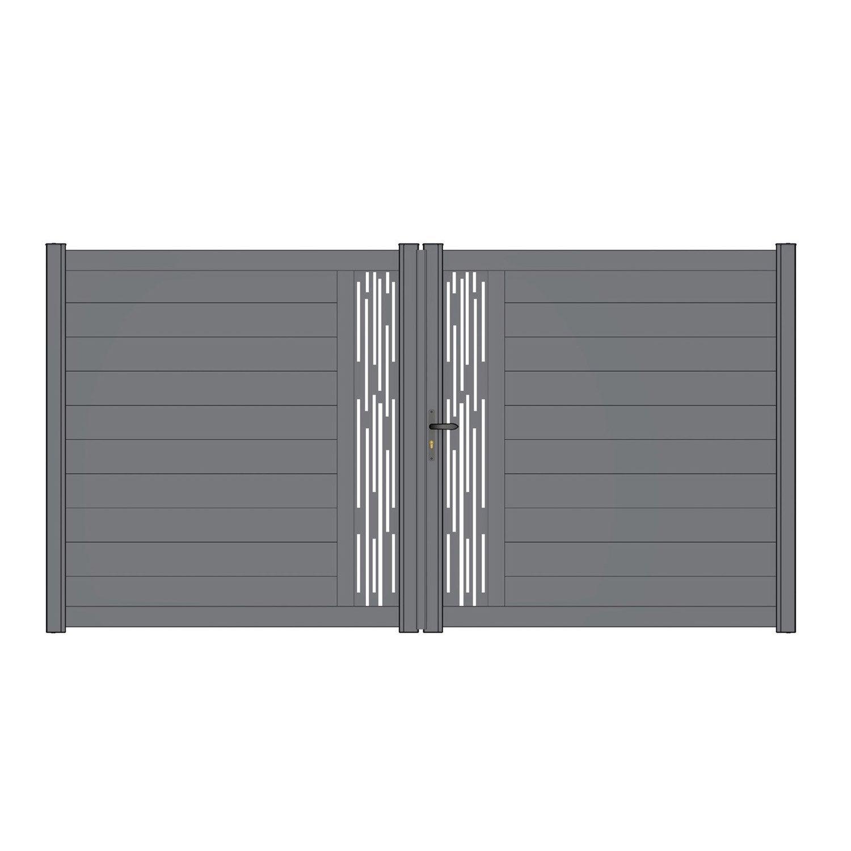 portail battant aluminium mix it ligne gris naterial cm x cm leroy merlin. Black Bedroom Furniture Sets. Home Design Ideas