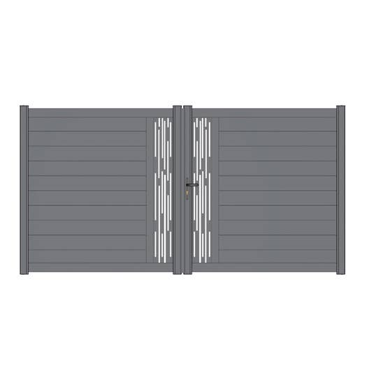 Portail battant aluminium mix it ligne gris naterial cm x cm leroy merlin for Portail aluminium battant 350