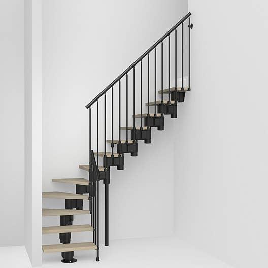 escalier quart tournant long structure acier marche bois leroy merlin. Black Bedroom Furniture Sets. Home Design Ideas