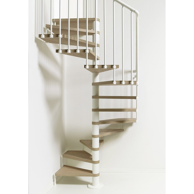 Escalier Colimacon Carre Cube Structure Acier Marche Bois Leroy Merlin