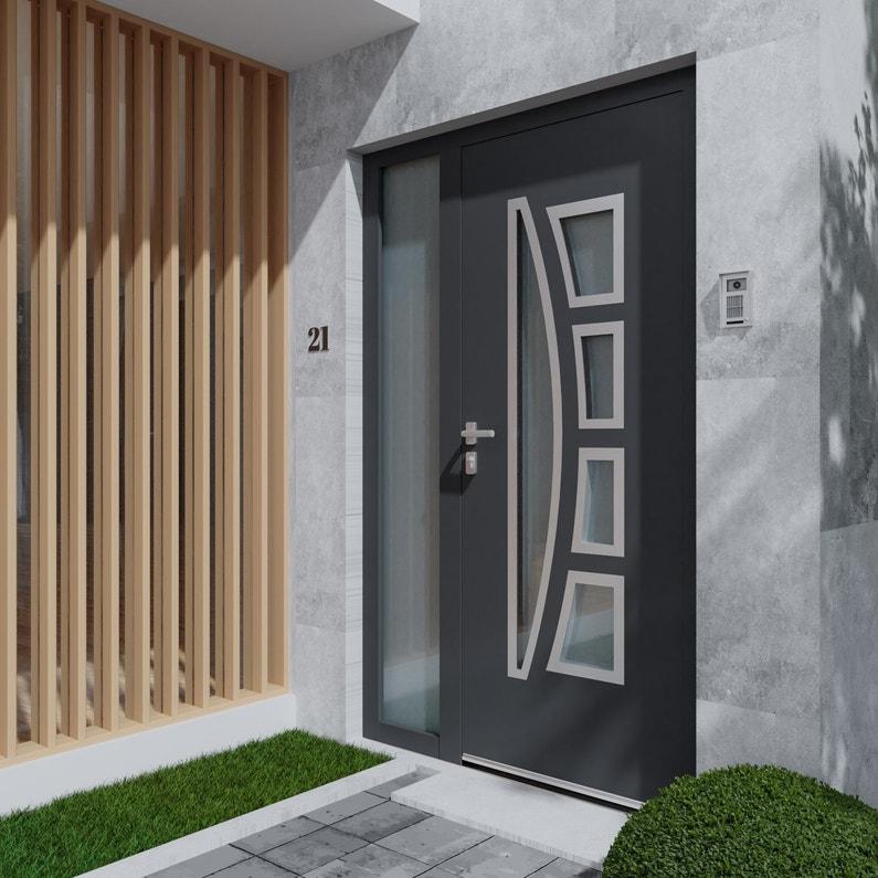 Porte D Entrée Alu Riwa Premium H 215 X L 90 Cm Vitrée Gris Anthracite Pd