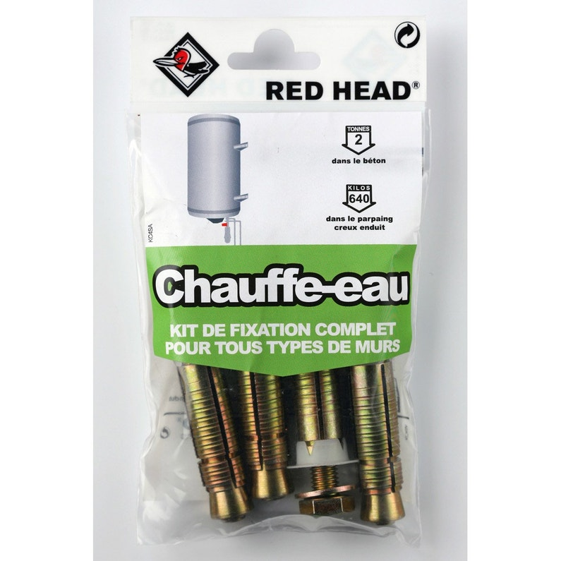Kit Chevilles à Expansion Chauffe Eau Red Head Diam16 X L65 Mm