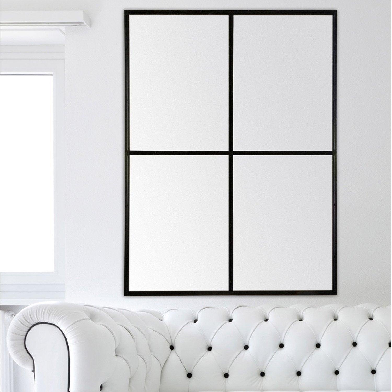 Miroir rectangulaire Atelier fenêtre, noir, l.120 x H.90 cm