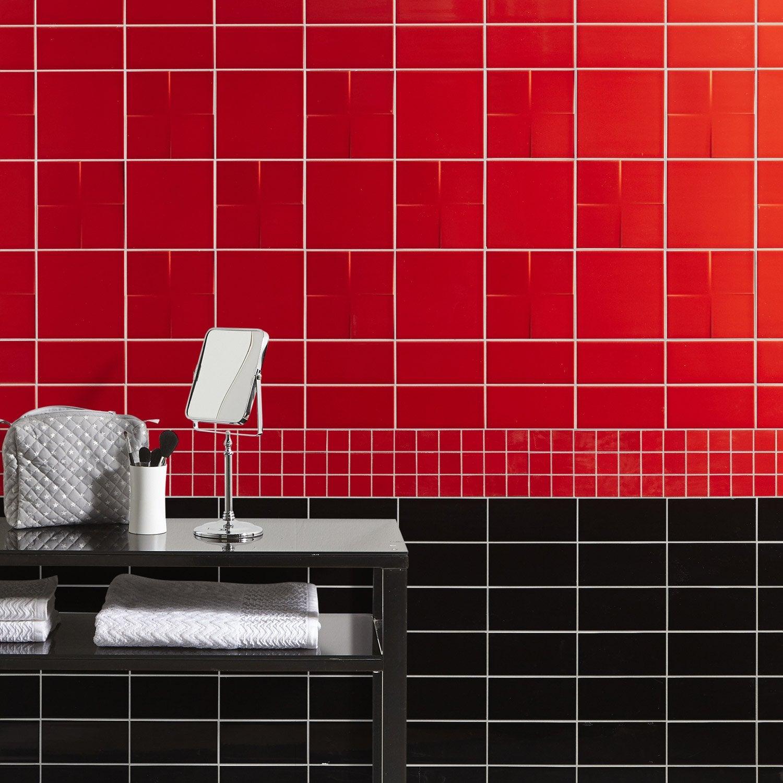 Faïence mur rouge rouge, Astuce l.10 x L.20 cm | Leroy Merlin